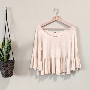 FREE PEOPLE Wide Neck Ruffle Peplum Top
